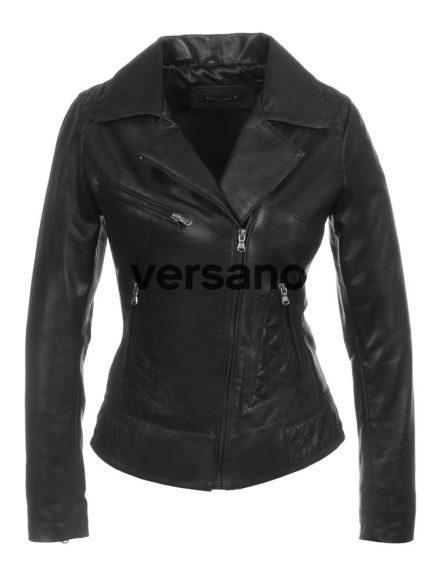 Leren dames jas in bikerlook zwart van Versano