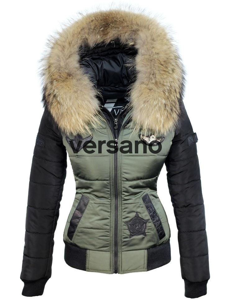7c3efd5f Las mujeres de cuello de piel de invierno con los pilotos insignias verdes  Versano