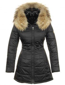 chaqueta de invierno de gran tamaño para mujer con cuello de piel azul