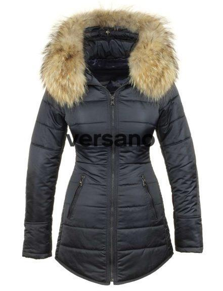 Long ladies winter coat with fur collar blue Genny Versano