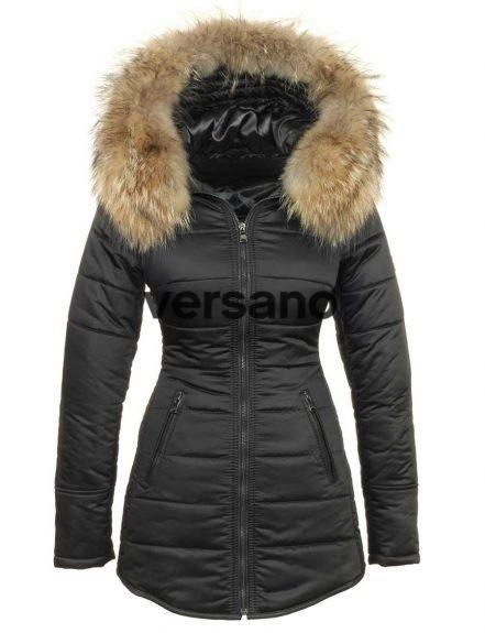 Long ladies winter coat with fur collar black Genny Versano