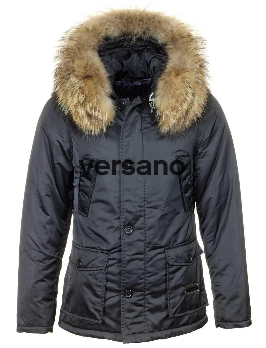 22f7c3fa9c7 Parka men s winter coat with fur collar Hogun blue