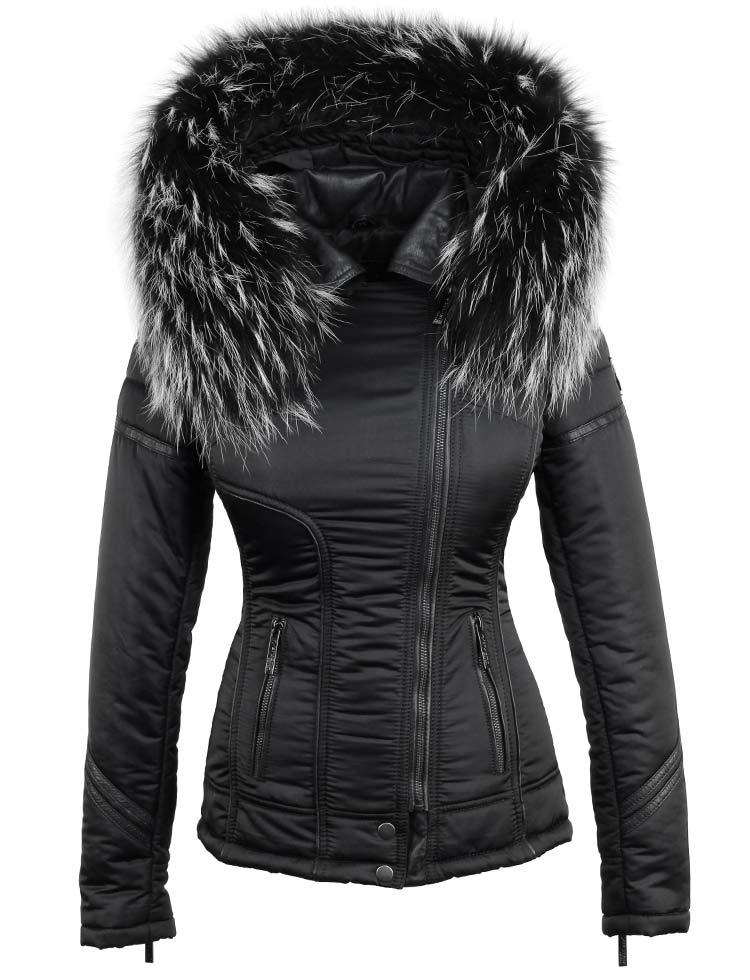 Zwart Witte Winterjas.Zwarte Winterjas Dames Met Bontkraag Van Versano Winterjas Zwart