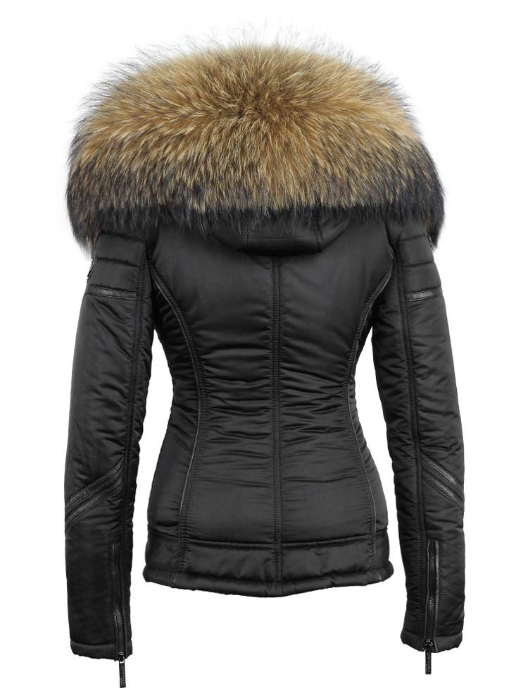 Zwarte winterjas dames met bontkraag van Versano, winterjas