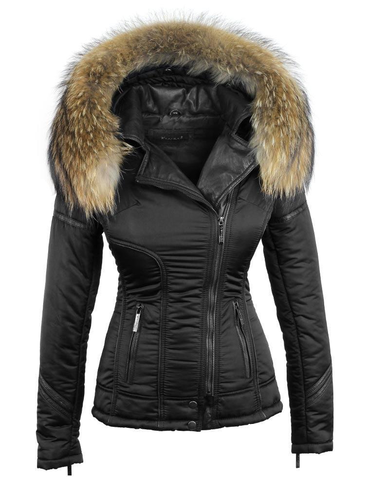 Zwarte winterjas dames met bontkraag van Versano