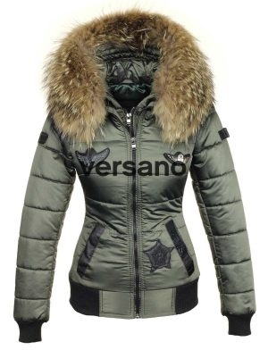 Ladies winter jacket with fur collar green Versano Zara