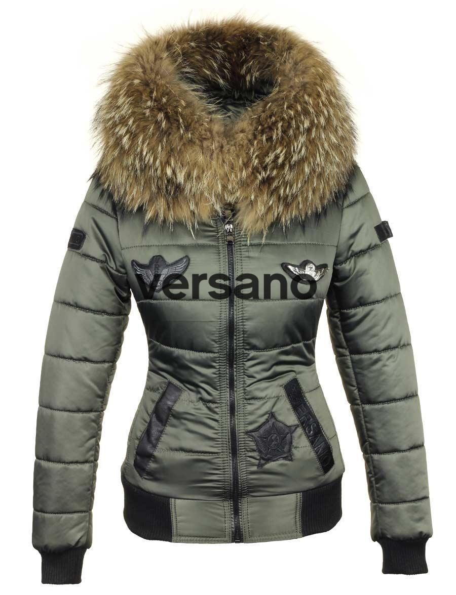 43ea88a6 chaqueta de invierno de las mujeres con cuello de piel verde Versano Zara.  chaqueta ...