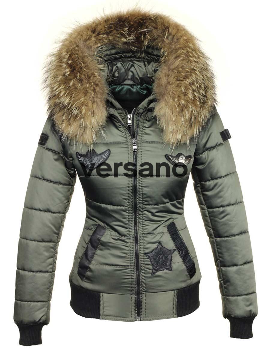 fc55271405d3 Damen Winterjacke mit Fellkragen grün Versano Zara