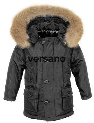 Jongens kinder Parka jas met bontkraag zwart Versano