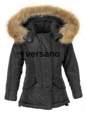 Parka meisjesjas met bontkraag zwart Versano