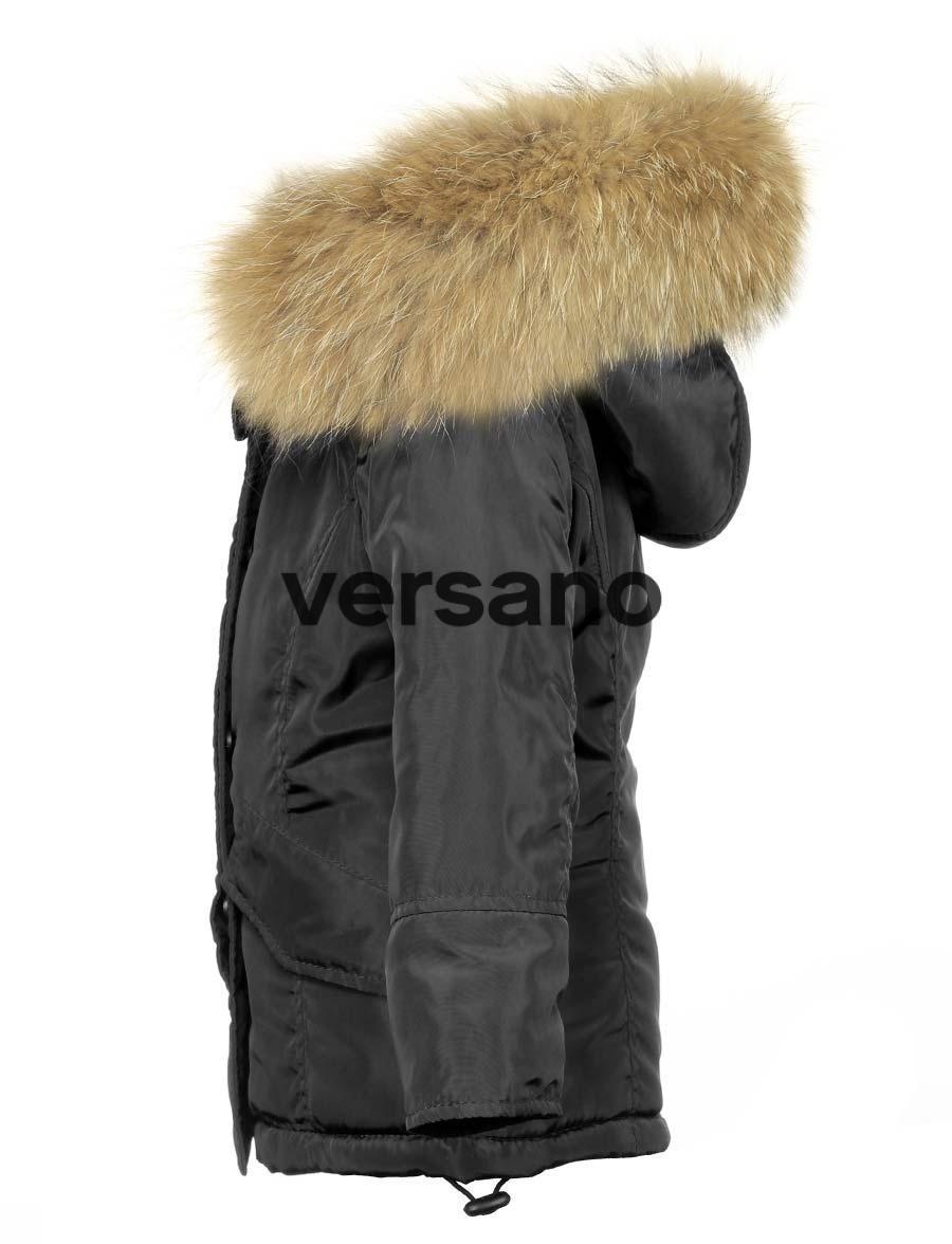 44b5738f8710 Parka girls jacket with fur collar black Versano. Parka ...