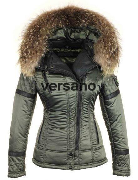 Ladies winter jacket With Fur Collar Farry Green