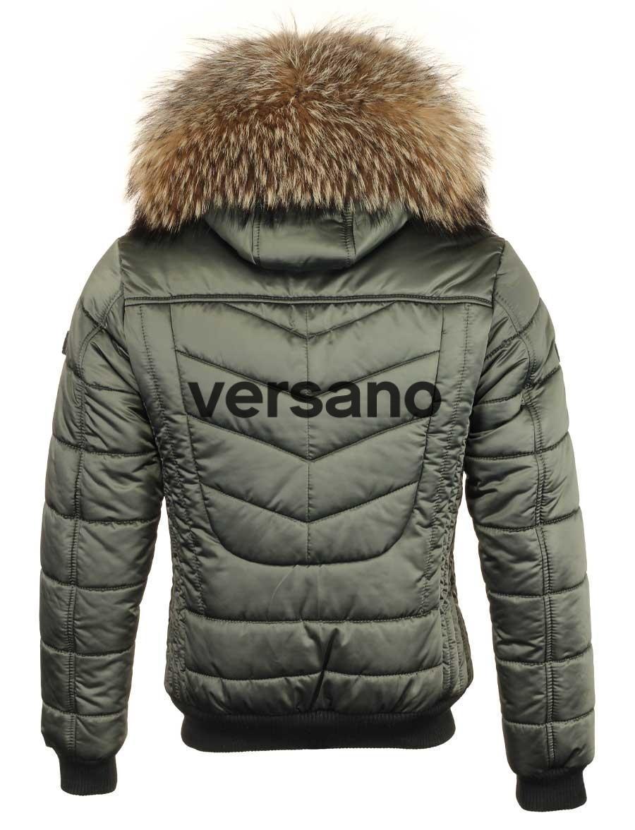 online retailer 476cd 0c663 Heren piloten model winterjas met bontkraag Versano effen groen
