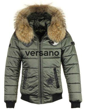 Men's pilots model winter jacket with fur collar Versano plain green
