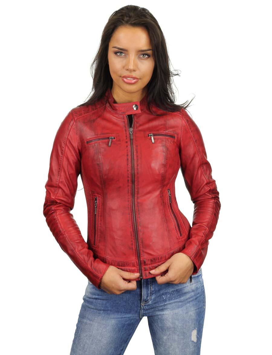 bikerjack-dames-rood-leren-jas-versano-346-voorkant