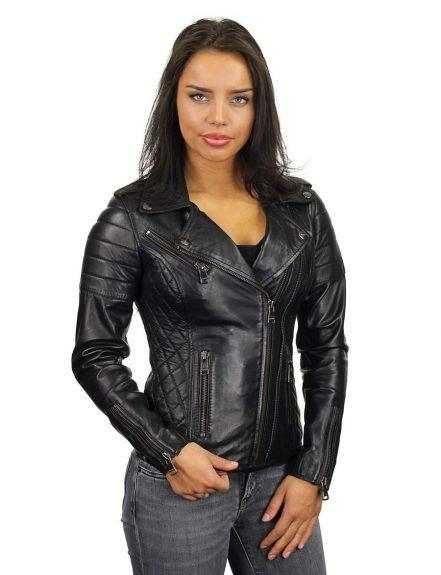 leren-bikerjack-dames-zwart-dubbele-rits-versano-342-model