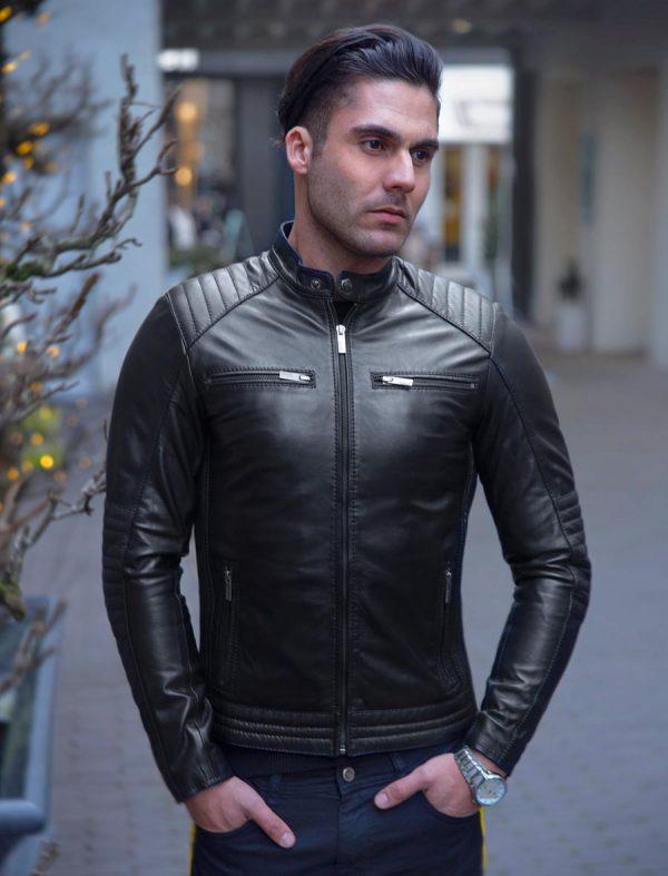 Veste en similicuir pour homme modèle biker cognac Versano