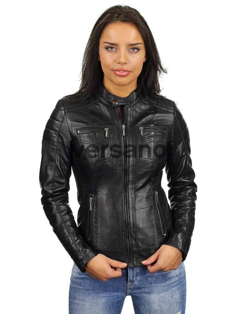 entrega gratis super especiales disfruta el precio más bajo Leren dames jas in biker model zwart 318