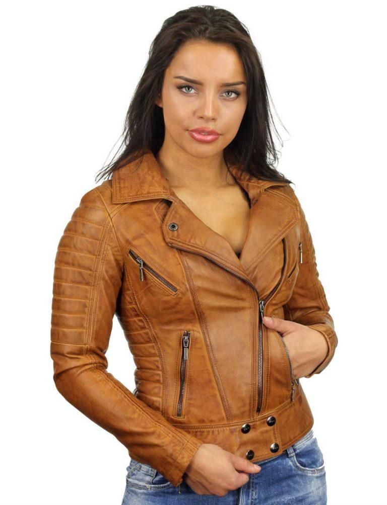 vivid and great in style latest style largest selection of Dames leren jas biker model cognac van Versano