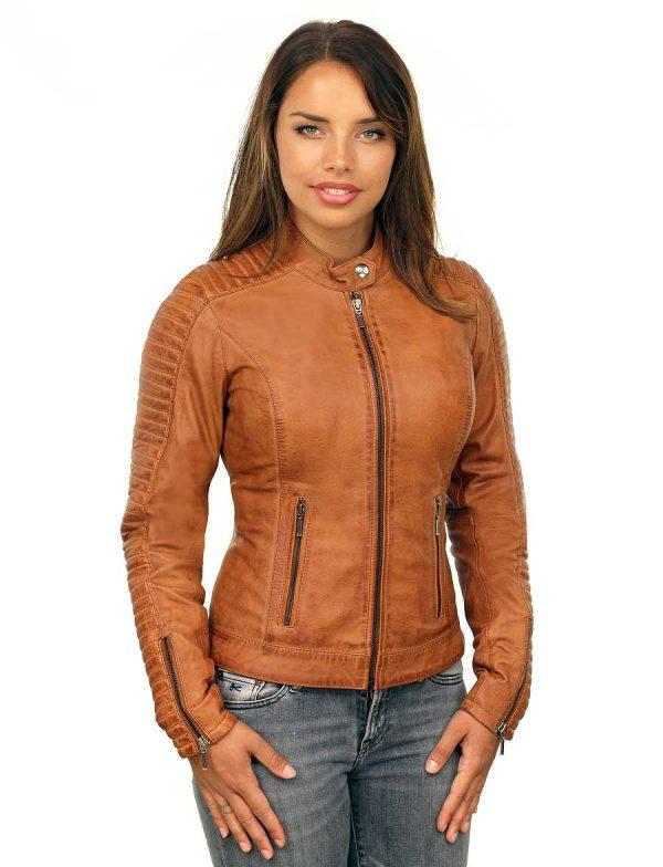 online store most popular beautiful design echt leren dames jas in biker look cognac Versano 341