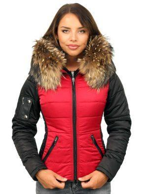 coat with fur collar red-black Shamila