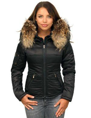 Winter coat with fur collar black Shamila