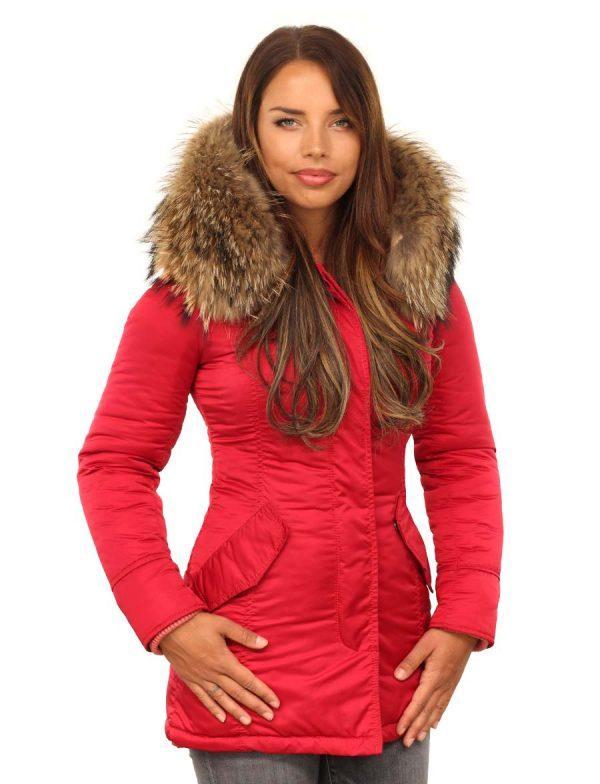 Rode dames parka winterjas met bontkraag van Versano