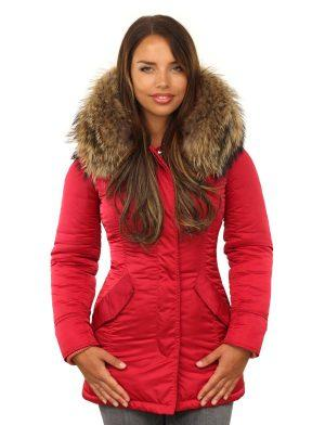 Red ladies parka winter jacket with fur collar by Versano