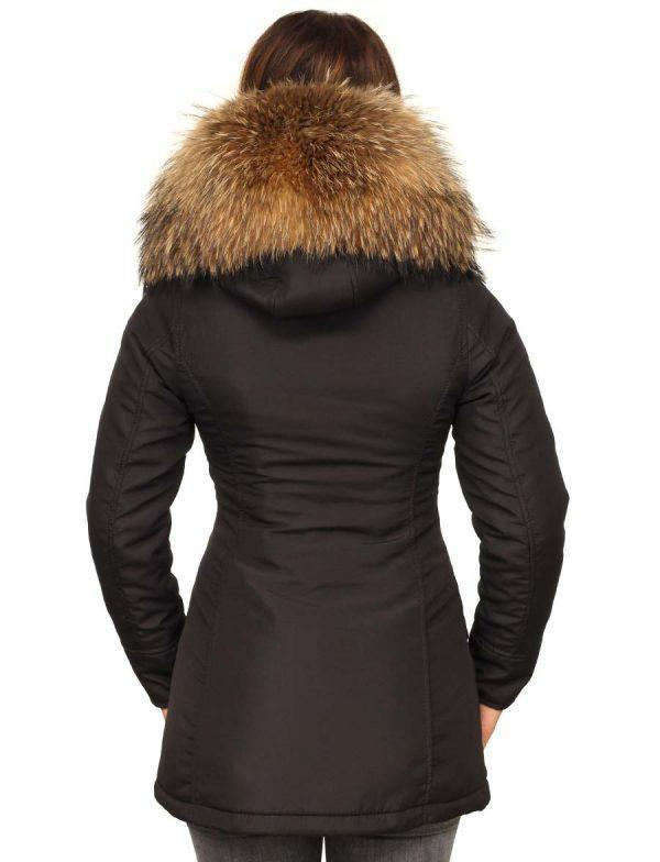 677c3c7144fa0a Zwarte parka dames winterjas met bontkraag van Versano, parka winterjas