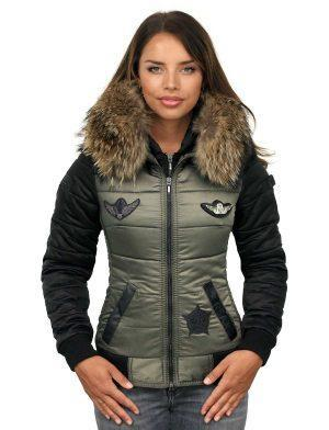 Ladies pilots winter jacket fur collar with badges green Versano