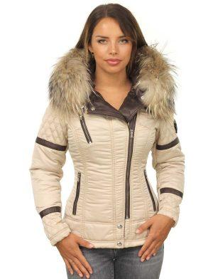 Women's Winter Coat With Fur Collar Versano Farry Beige
