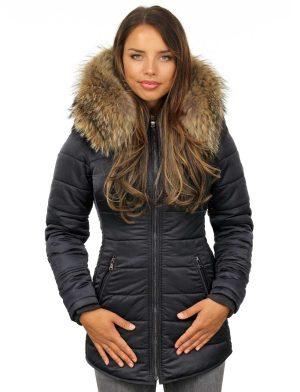 Damen lange Winterjacke mit Fellkragen blau Genny Versano