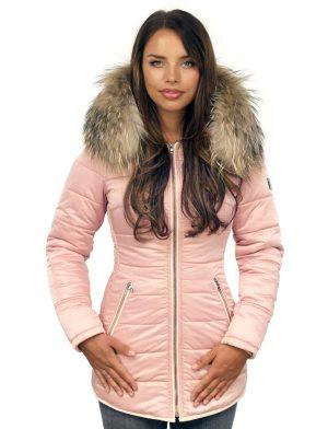 Long ladies winter coat with fur collar rose Genny Versano