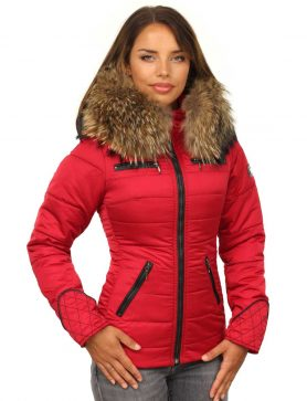 Dames-winterjas-rood-met-rits-versano