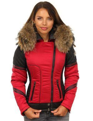 Red ladies winter coat with fur collar by Versano