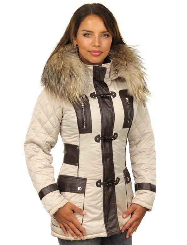 34ee05d31149 Mesdames manteau d hiver avec col en fourrure beige Versano. Mesdames ...