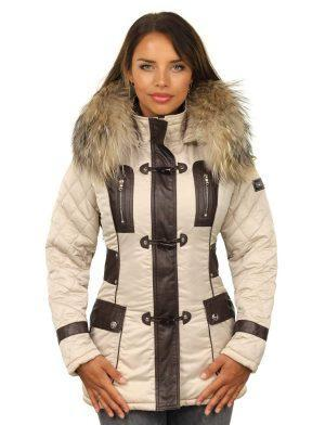 Winter jacket ladies beige with fur collar by Versano