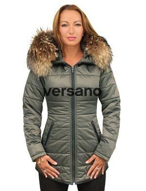 Ladies winter jacket medium length green with fur collar Genny Versano