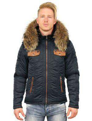 Versano Men's winter jacket with fur collar Roger Blue