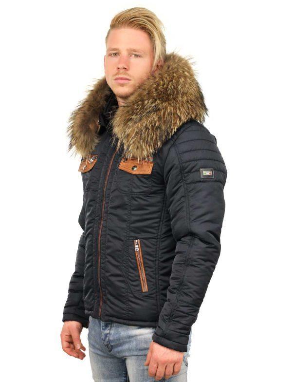 5048a821b80c9 Chaqueta de invierno Versano para hombre con cuello de piel Roger azul.  chaqueta ...