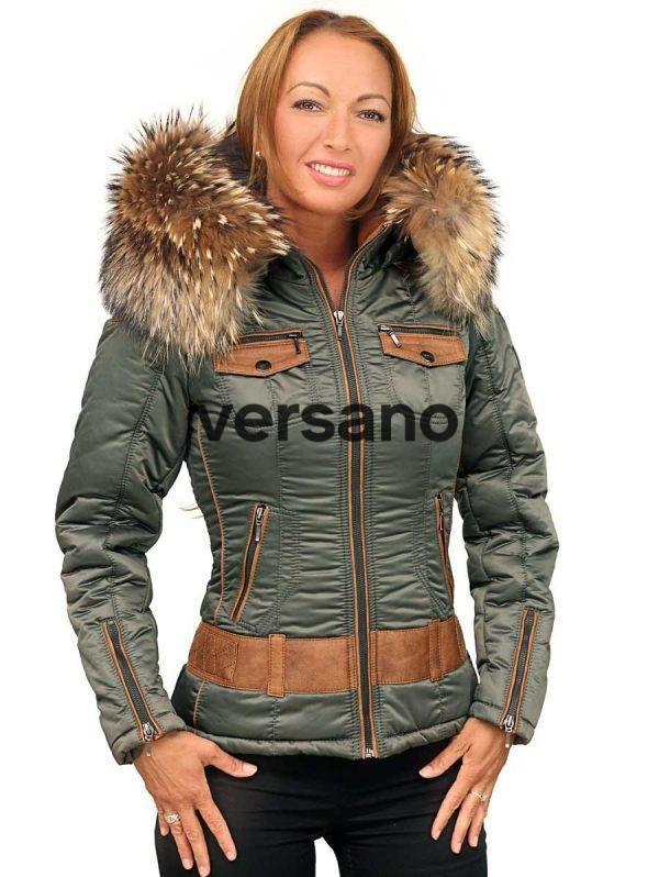 Italiaanse dames winterjas met bontkraag legergroen Claudia Versano