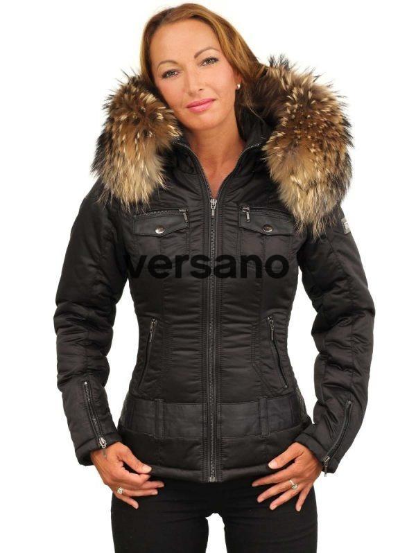 Italiaanse dames winterjas met bontkraag zwart Claudia Versano