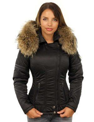 Black winter jacket ladies with fur collar by Versano