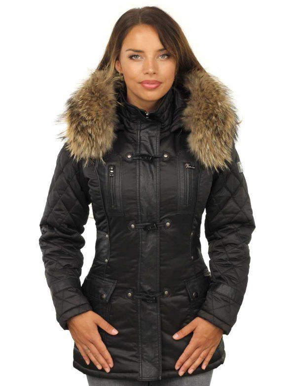 Winterjas dames zwart met bontkraag van Versano