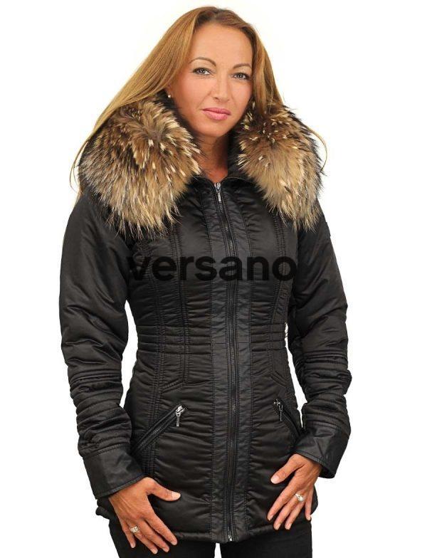 halflang zwarte dames winterjas met bontkraag Sandy Versano