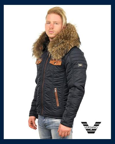 Stoere Winterjas.Stoere Heren Winterjas Met Bontkraag Versano Versano