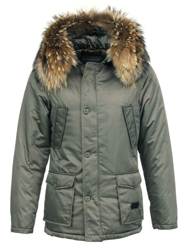 91a6a19fd6c7a Abrigo de invierno parka verde para hombres con cuello de piel Hogun