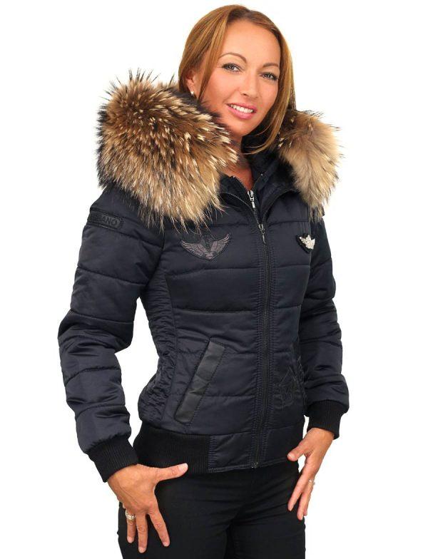 c1a7ac499d6d Veste d hiver pour femme avec badges Veste d hiver pour femme bleue ...