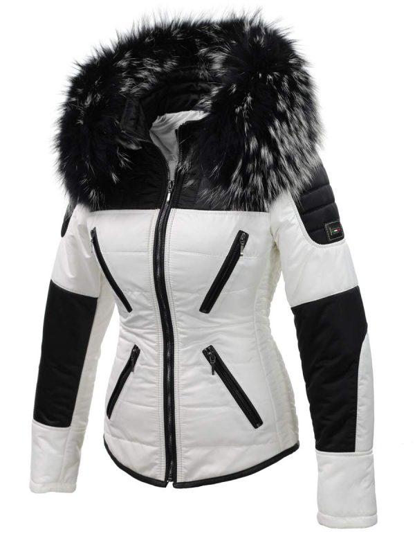 Zwart Witte Winterjas.Dames Winterjas Wit Zwart Met Bontkraag Sema Versano
