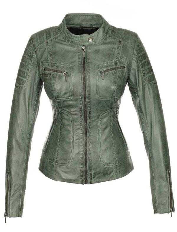 groene-leren-dames-jas-biker-model-versano-miami-voorkant